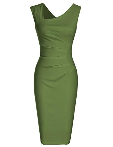 MUXXN Ladies Classic Cut Out Neck Empire Waist Ruched Bridesmaid Prom Dress (Olive Green L)