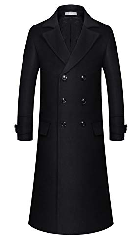 APTRO Men's Full Length Wool Trench Coat Fleece Lining Double Breasted Overcoat 1818 Black L