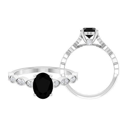 Anillo solitario vintage de 2,25 CT con diamante negro creado en laboratorio y detalles de moissanita (8 x 6 mm, forma ovalada, 14K Oro blanco, Size:EU 46