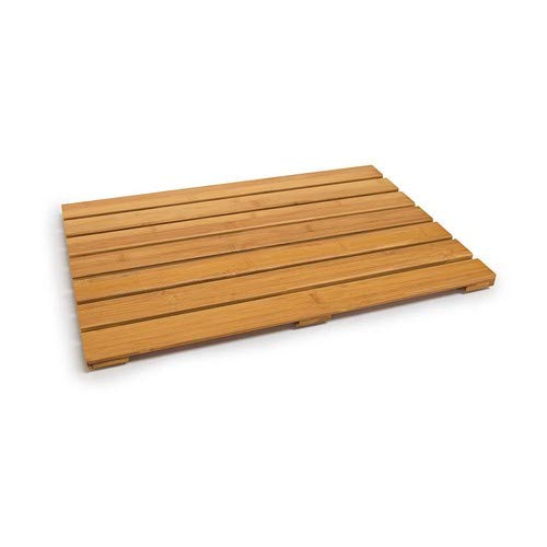 Relaxdays Alfombrilla de baño, Bambú, Marrón, 53,5 X 35,5 X 2 cm