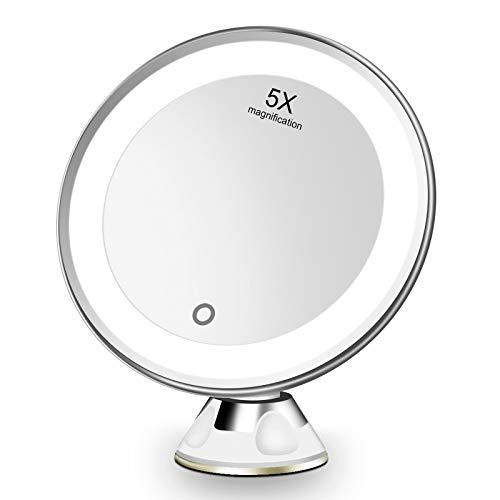 FASCINATE Espejo de Baño, Espejo Maquillaje con luz LED Aumento 5X, con Rótulo Giratorio Ajustable y Ventosa,a Pilas