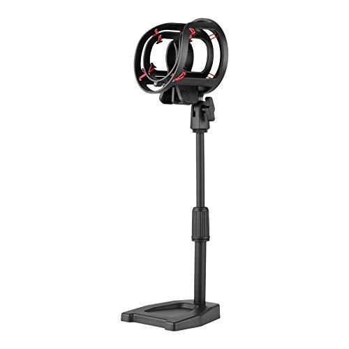 negaor Soporte de mesa para micrófono ajustable en altura con soporte de choque de 26 cm/10 pulgadas para micrófono de condensador soporte de micrófono