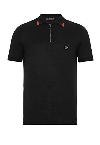 Herren Designer Poloshirt T-Shirt Sportiv Casual Kurzarm Strick Regular Fit Schwarz L