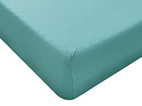 Sábana bajera de algodón con esquinas para cama de plaza y media, 140 x 200 cm, color verde, material 100% puro algodón, sábana para cama individual de 1 plaza, fabricada en Italia
