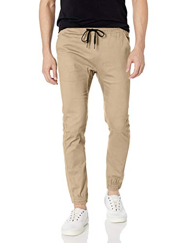 Brooklyn Athletics Men's Twill Jogger Pants Soft Stretch Slim Fit Trousers, Khaki, Medium