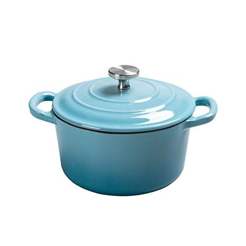 HHTD Horno holandés esmaltado de hierro fundido con perilla de acero inoxidable y asas de bucle, olla redonda de cerámica esmaltada para horno holandés, olla de sopa esmaltada (color azul)