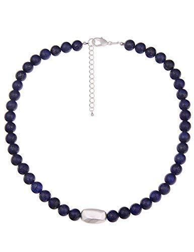Leslii Damen Kette Steinkugeln Natur Stein Collier kurze Halskette Modeschmuckkette in Blau Silber 51cm verstellbar