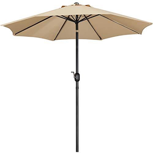 Yaheetech Sonnenschirm ø 270 cm Gartenschirm Knickbarer Marktschirm UV Schutz Kurbelschirm mit Kurbelvorrichtung Sonnenschutz, Hellbraun
