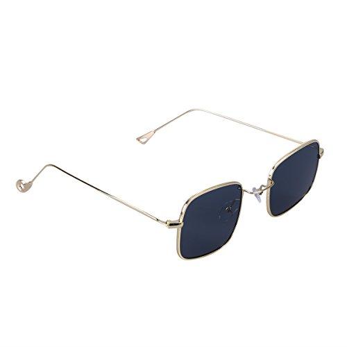 OULII Sommmer Hippie Brille Vintage Quadratische Sonnenbrille für Strand Party Outdoor (Schwarz)