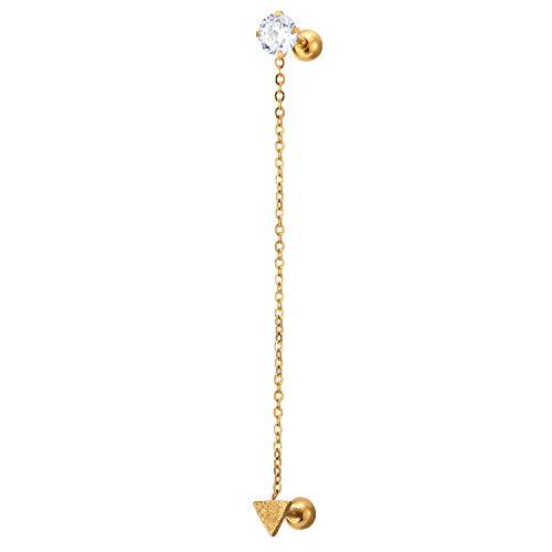 1 Pieza Color Oro Dobles Colgantes con Cadena Satinado Triángulo y Solitaire Cúbico, Pendientes Hombres Mujer, Acero