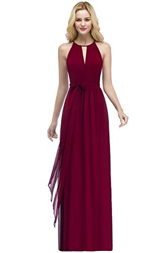 MisShow Damen Elegant Unregelmäßig Brautjungfern Kleid Neckholder Chiffon Abendkleid Maxilang...