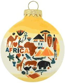 On Holiday Glass Heart of Africa Bulb Christmas Tree Ornament