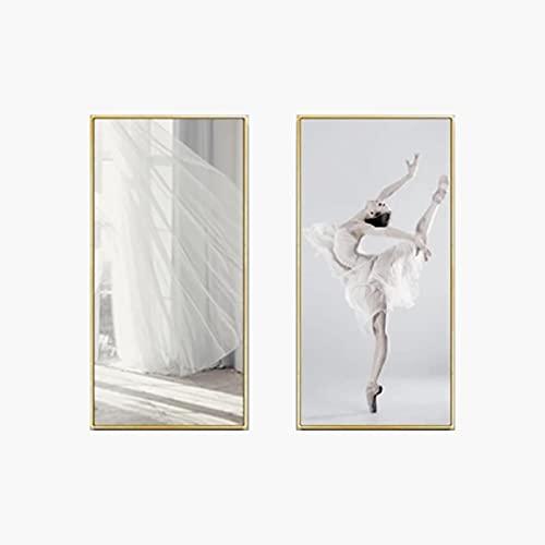 JINHJ Falda Blanca Elegante Ballet Girl Arte de la Pared Pintura en Lienzo Póster nórdico Imagen Impresa Decoración Moderna para el hogar (70x140cm) × 2pcs Sin Marco