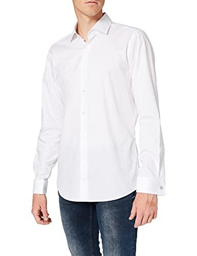 Strellson Premium Herren Businesshemd 11 Santos Uma 10000894, Weiß (White 100), Kragenweite: 42 cm