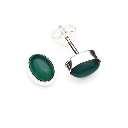 Oorbellen 925 sterling zilver Groene onyx groene steen 6 mm x 8 mm (No: MOS 40)