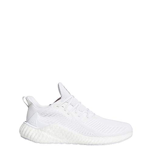 adidas Men's Alphaboost Running Shoe, White/Silver Metallic/White, 11 M US