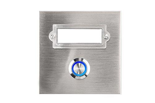 HUBER LED Klingeltaster 12322, 1-fach aufputz/unterputz, quadratisch, Echtmetall, LED Lichtfarbe blau