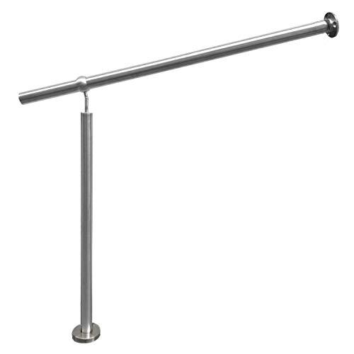 Barandilla de entrada de acero inoxidable V2A, para interior y exterior, barandilla de pared de 1000 mm de altura (longitud del pasamanos 800 mm)