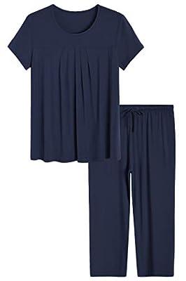 Latuza Women's Pajamas Pleated Loungewear Top and Capris Pjs Set XL Navy