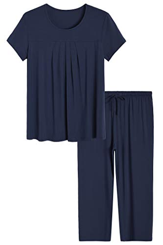 Latuza Women's Pajamas Pleated Loungewear Top and Capris Pjs Set 3X Navy