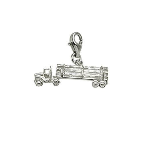 Sterling Silver Log Truck Charm With Lobster Claw Clasp, Charms for Bracelets and Necklaces