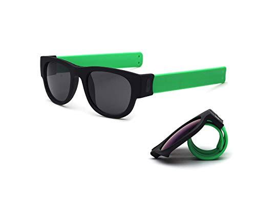 TUOTUO Gafas de Sol Polarizadas para Hombre Mujer, Súper Liviana Plegables Lentes Deportivas Protección 100% UV (Lente verde pierna gris marco gris)