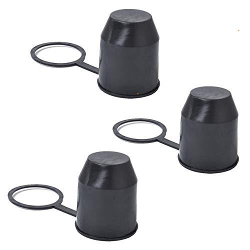 ZUNBO 3 Tapas de Bola para Gancho de Remolque para Cabeza de Bola de hasta Ø 50 mm Tapa de Goma Tapón Protector de Gancho contra la abrasión y la Suciedad no gotea Negro