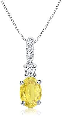 Oval Yellow Sapphire Ranking TOP5 Pendant with 6x4mm Sap Bale Diamond Now free shipping