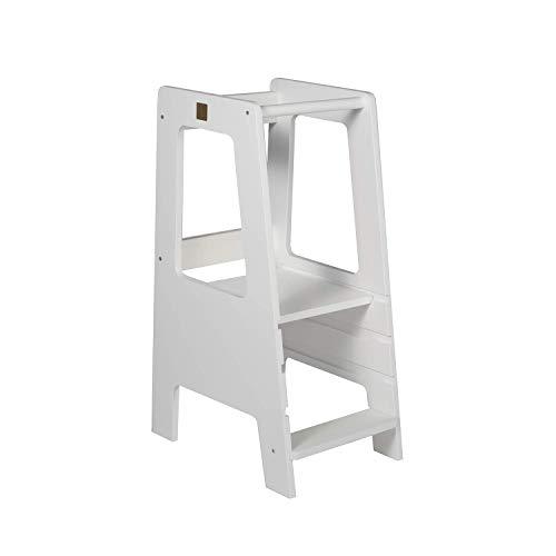 MeowBaby Lernturm für Kinder Lernstuhl Made in EU Montessori Küchenhelfer Learning Tower Kitchen Helper Weiß
