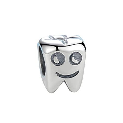 SANHUA Dije De Metal De Diente Lindo De Plata Esterlina S925 Adecuado para Pulsera De Serpiente De Plata Dentista De Bebé Lindo