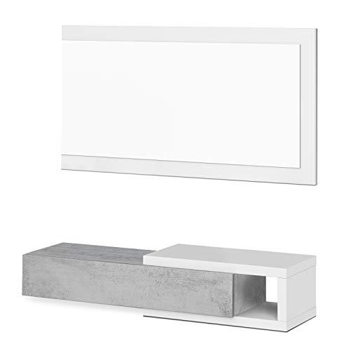 Habitdesign Recibidor con cajón y Espejo, Mueble de Entrada, Modelo Noon, Acabado en Blanco Artik y Gris Cemento, Medidas: 95 cm (Ancho) x 19 cm (Alto) x 26 cm (Fondo)