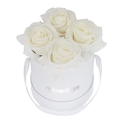 Relaxdays Rosenbox rund, 4 Rosen, stabile Flowerbox weiß, 10 Jahre haltbar, Geschenkidee, dekorative Blumenbox, weiß