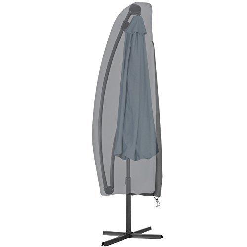 Krollmann funda protectora para sombrillas de color gris, cubierta para parasoles de poliéster, medidas para parasoles excéntricos, 190 cm x 42/70 cm
