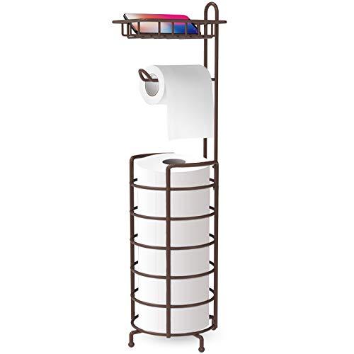 Bextsrack Toilet Paper Holder Stand, Free Standing Bathroom Toilet Tissue Roll Holder and Dispenser...