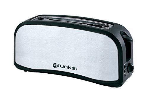 Grunkel - Breitschlitz-Toaster für alle Brottypen aus Edelstahl mit 1000 W Leistung, inkl. Backwarenwärmer und Krümelschublade, Modell TSM-L14