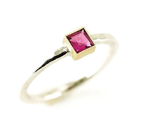 Princess Cut Tourmaline Ring - 14k Gold and Sterling - Created or Genuine Square Gemstone Choices