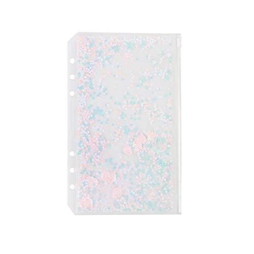 Chris.W 2 Stück transparente Kunststofftaschen mit Reißverschluss für A5 6-Ringbuch Notizbuch, integrierte Glitzerflocken Dekoration (A5-Größe) Persönliche Größe farblos