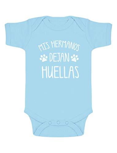Green Turtle T-Shirts Regalos para Bebes Recien Nacidos - Mis Hermanos Dejan Huellas 3-6 Mes Celeste