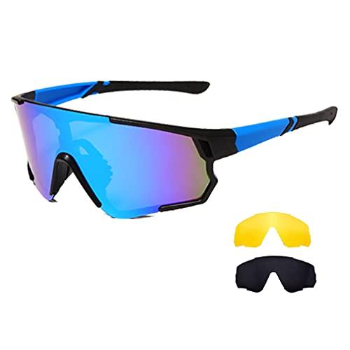 Long Keeper Gafas Ciclismo Hombres Mujeres Gafas de Sol Deportivas Polarizadas Gafas Bicicleta con 3 Lentes Intercambiables para Corriendo MTB (Marco azul-Lente Gris+Amarillo+Azul)