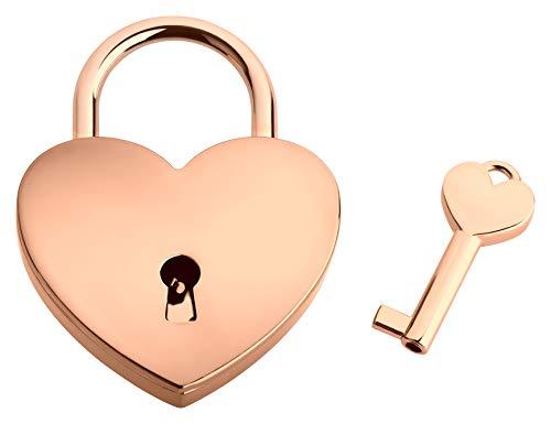 Liebesschloss In Herzform | Herzschloss Mit Schlüssel & Samtsäckchen Als Liebesgeschenk | Roségold | Ohne Gravur