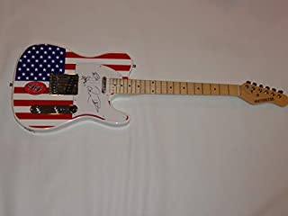 THE FOO FIGHTERS SIGNED USA FLAG ELECTRIC GUITAR DAVE GROHL SKETCH TAYLOR PAT JSA COA