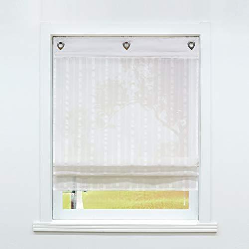 SCHOAL Raffrollo ohne Bohren Raffgardinen mit Ösen Gardinen Landhaus Ösenrollo Vorhänge Leinen Halbtransparent BxH 80x140cm 1 Stück Weiß #1
