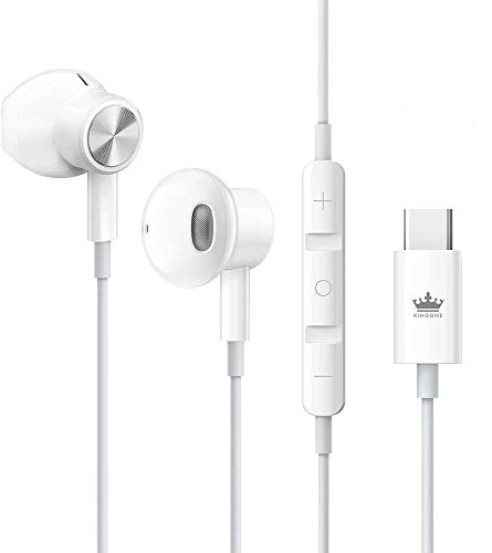 USB C Headphones,KINGONE Type C Earbuds USB C Earphones HiFi Stereo Magnetic with Mic & Volume Control Compatible with Google Pixel 3/2/XL,iPad Pro 2018,MacBook,Sony XZ2 Pro,Samsung S9 (White)