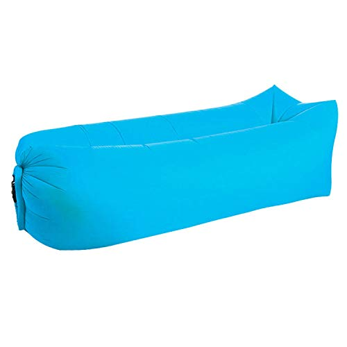 wand-8-CC Camping Mat Lazy Bag Lounger Outdoor Camping Lazy Sofa Strand Picknick Mat Opblaasbare Sofa Bed Beanbag Air Sofa Lounge Stoel Pad one size Sky Blue Square