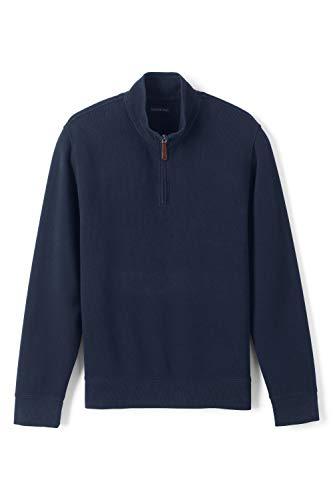Lands' End Herren Zipper-Pullover aus Bedford-RIPP 60 Blau - Classic Navy Uni