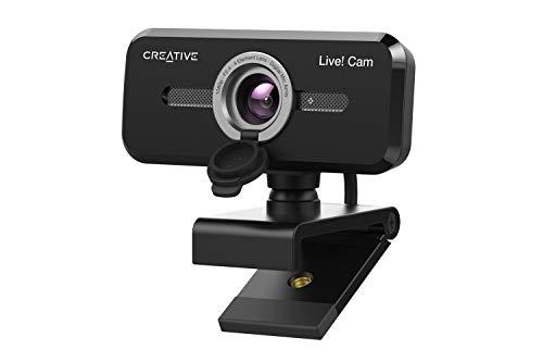 USB Creative Live! CAM Sync 1080p V2 Webcam Full HD con Gran Angular, Auto Mute y cancelación de Ruido para videollamadas, micrófono Dual Incorporado Mejorado, Funciona con Zoom, Skype, Teams y más