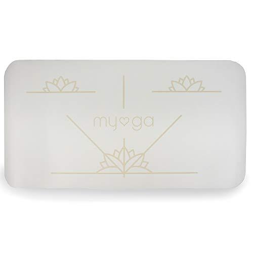 Myga RY1338 - Esterilla de yoga de alineación (almohadillas antideslizantes para una amortiguación extra con soporte de rodilla, codo y mano, 66 x 34 cm, 5 mm de grosor, color crema