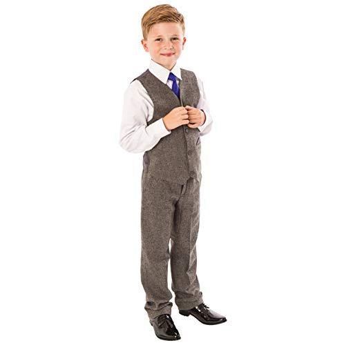 Jungen Tweed Anzug, 4-teilig, Hochzeit, Page Boy, Party-Outfit, Jungen, grauer Anzug, 0-3 Monate bis 12 Jahre Gr. 3-4 Jahre, grau