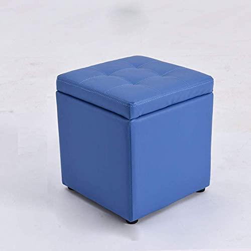 BHBXZZDB Ottoman Pouffe Leather Footstool, Square Storage Stool Modern Minimalist Living Room Sofa Foot Stools Solid Wood Small Seat Chair Non-Slip Waterproof,Blue