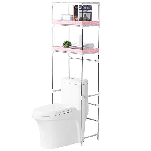 Cocoarm Estante de 3 niveles para cuarto de baño, estante para inodoro para lavadora, cuarto de baño, espacio para lavadora, estante de almacenamiento de 3 niveles para lavadora con 3 estantes